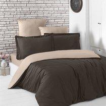 Постельное белье Karna Loft, двухстороннее, цвет шоколадный, 2-спальный - Karna (Bilge Tekstil)