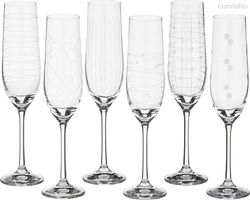 Набор бокалов для шампанского из 6 шт. ВИОЛА МИКС 190 мл ВЫСОТА=24 СМ. (КОР=1Набор.) - Crystalex