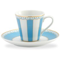 """Чашка кофейная с блюдцем 90мл """"Карнавал"""" (голубая полоска) п/к, цвет голубой - Noritake"""