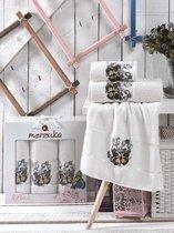 Комп. Пол. MERZUKA махр. в короб. (50x80/2)(70х130/1) 3 шт. BUTTERFLY, цвет кремовый - Meteor Textile