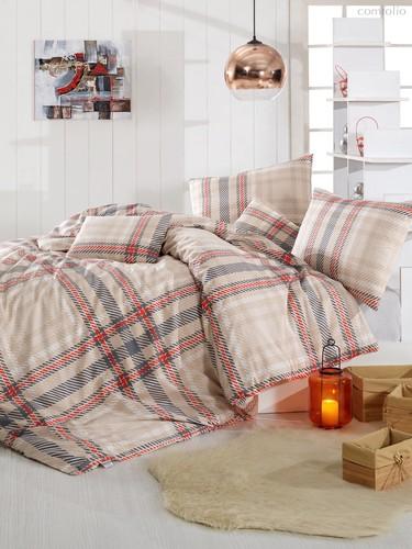 Постельное белье Ranforce Aliz, цвет коричневый, размер Евро - Altinbasak Tekstil