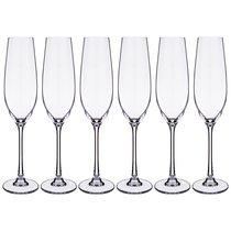 Набор бокалов для шампанского из 6 шт. COLUMBA 260 МЛ ВЫСОТА=26,5 СМ (КОР=8Набор.) - Crystalite Bohemia