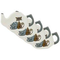 Набор Из 4-Х Подставок Под Чайный Пакетик Коллекция Озорные Коты 11x7x1. 5 см - Hongda Ceramics