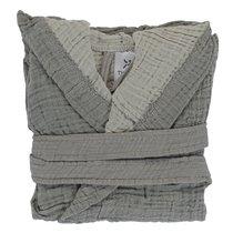 Халат из жатого хлопка серого цвета из коллекции Essential 18-24M - Tkano