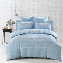 Постельное белье Karna Revena 300.TC, сатин с вышивкой, цвет голубой, Евро - Karna (Bilge Tekstil)